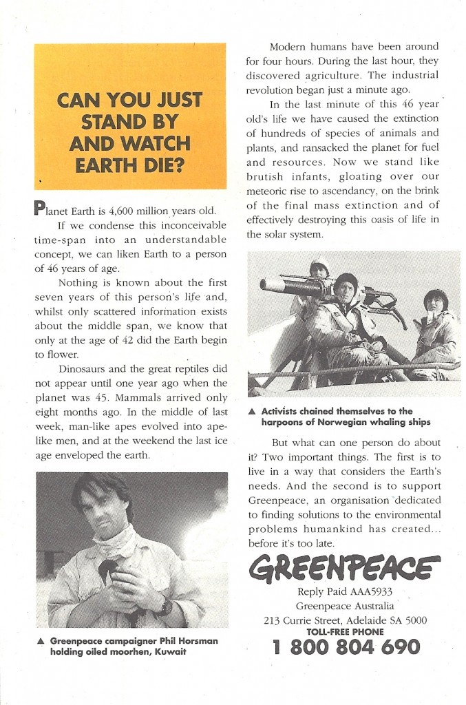 GREEN PEACE BROCHURE BACK
